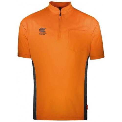 Target Coolplay Collarless dart polo shirt Oranje met Donker Grijs